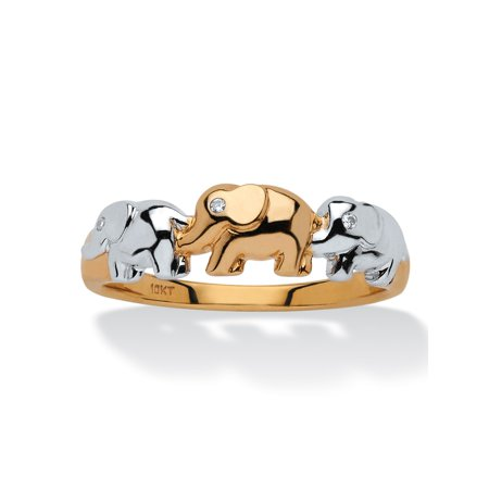 Diamond Accent Two-Tone Elephant Ring in 10k Gold