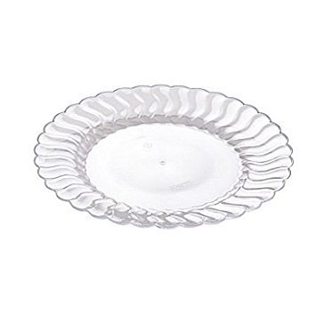 Fineline Settings 206-CL, 6-Inch Flairware Clear Plastic Dessert Plates, Party Catering Disposable Salad Dessert Round Dinner Plates - Disposable Dessert Plates