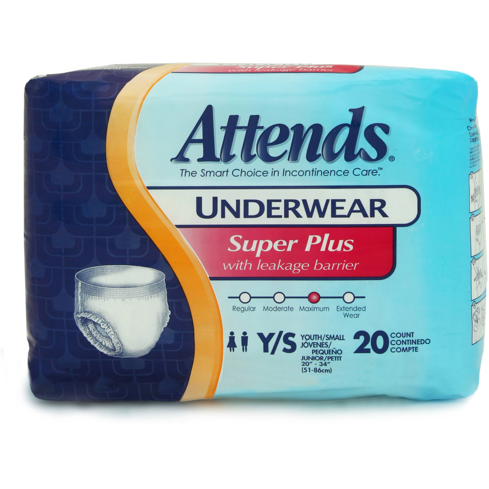 Attends Super Plus Absorbency Youth/Small Protective Underwear, 20ct