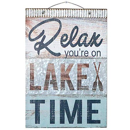 - Barnyard Designs Relax You're On Lake Time Nautical Wooden Plaque with Corrugated Sheet Metal, 20