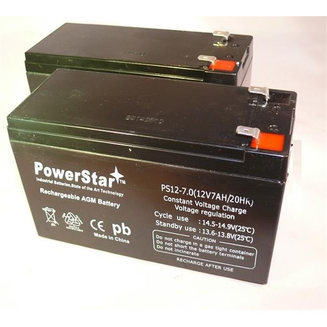 PowerStar PS12-7-2Pack10 12V 7Ah Razor Ground Force Drifter Go Kart Battery, 2 Pack