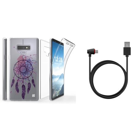 Tri Max Slim Self-Healing Flexible Gel Screen Protector Full Body Case (Purple Dreamcatcher) with 90 Degree Right Angle Flexible USB Type C Cable (4 Feet) and Atom Cloth for Samsung Galaxy Note 9 (Screen 90 Degree Angle)