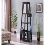 Kendall Black Wood Contemporary Entryway Hall Tree Coat Rack Stand With Storage Shelf, Umbrella Holder & Mirror
