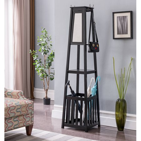 Kendall Black Wood Contemporary Entryway Hall Tree Coat Rack Stand With Storage Shelf Umbrella Holder