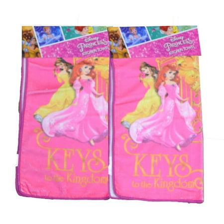 Princess Belle, Ariel, & Cinderella Kitchen Towel Set (Dark Pink)