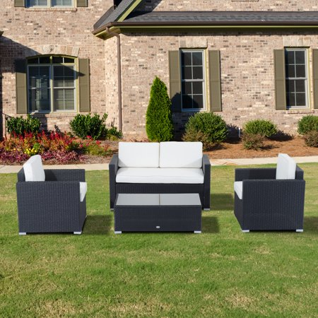 Outsunny 4 Piece Cushioned Outdoor Rattan Wicker Sofa Sectional Patio Furniture Set ()