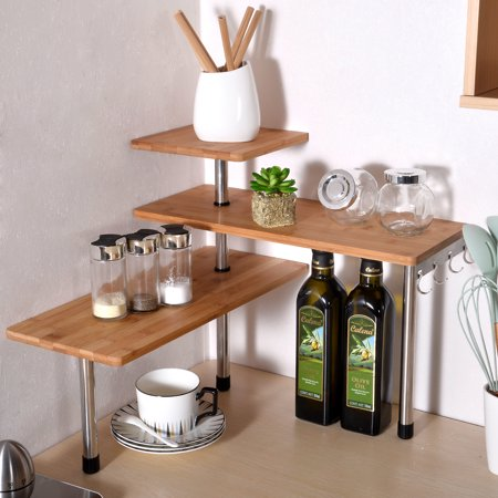3 Tier Kitchen Desktop Corner Shelving Unit Bamboo and Stainless Steel Kitchen Storage with 4 Hooks Saving Space for Office Organize Blomus Stainless Steel Shelf