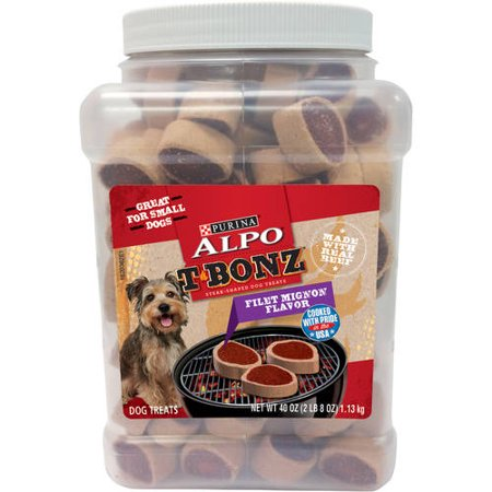 - ALPO T-Bonz Filet Mignon Flavor Steak-Shaped Dog Treats 40 oz. Canister