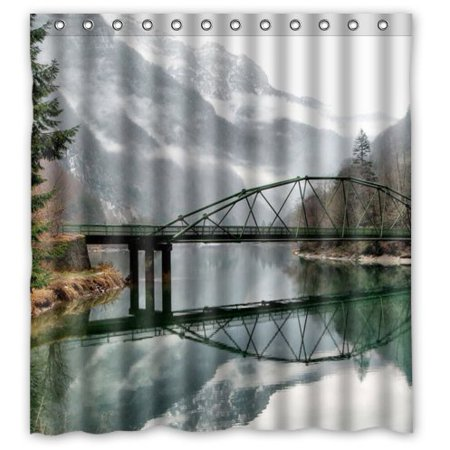 XDDJA Froggy Day Peaceful Bridge River and Mountain Shower Curtain Waterproof Polyester Fabric Shower Curtain Size 66x72 inches - image 1 of 1