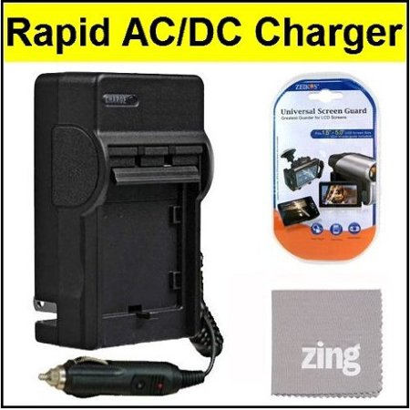 Travel Ac Dc Charger - Olympus VG-160 Digital Camera Battery Charger - AC & DC Compatible Travel Battery Charger + Cleaning Cloth And LCD Screen Protector