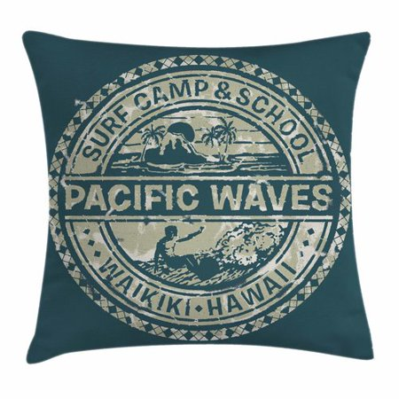 Ambesonne Holiday Pacific Waves Surf Camp Pillow (Waves Surf Camp)