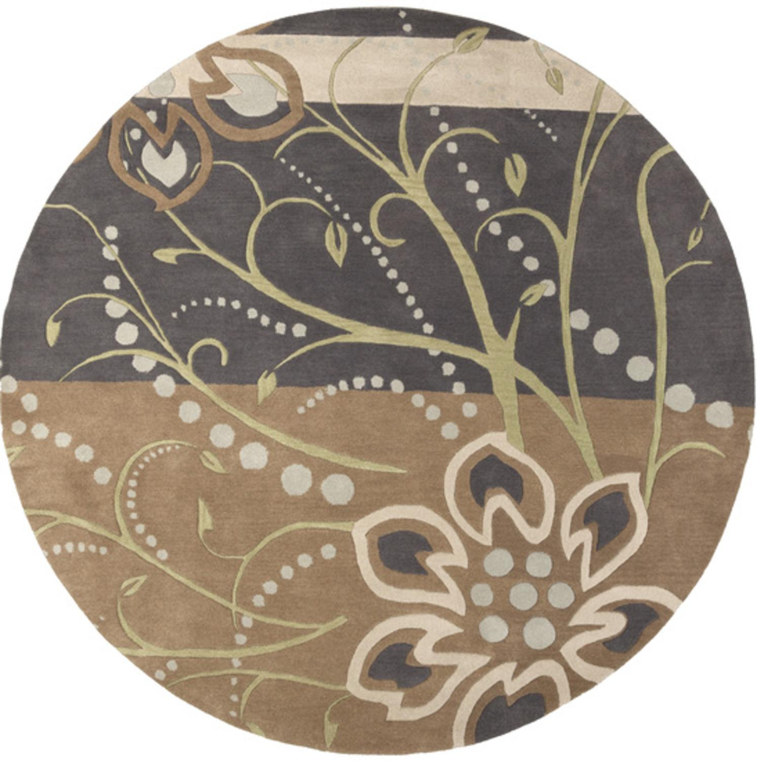 4' Aphrodite Light Gray and Brown Round Hand Tufted Wool Area Throw Rug