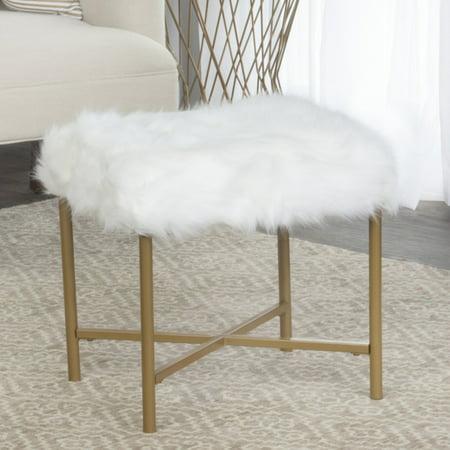 HomePop Fur Square Stool - White ()