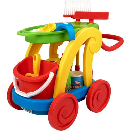- Kid Connection 15-Piece Light & Sound Cleaning Cart Play Set