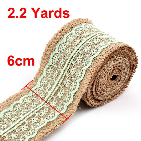 Household Gift Lace Edge Ornament Craft Burlap Ribbon Roll Light Green 2.2 Yards - image 1 of 5