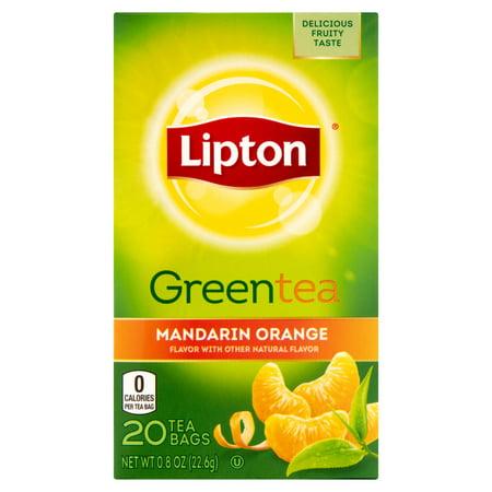 (4 Boxes) Lipton Green Tea Bags Mandarin Orange 20 ct