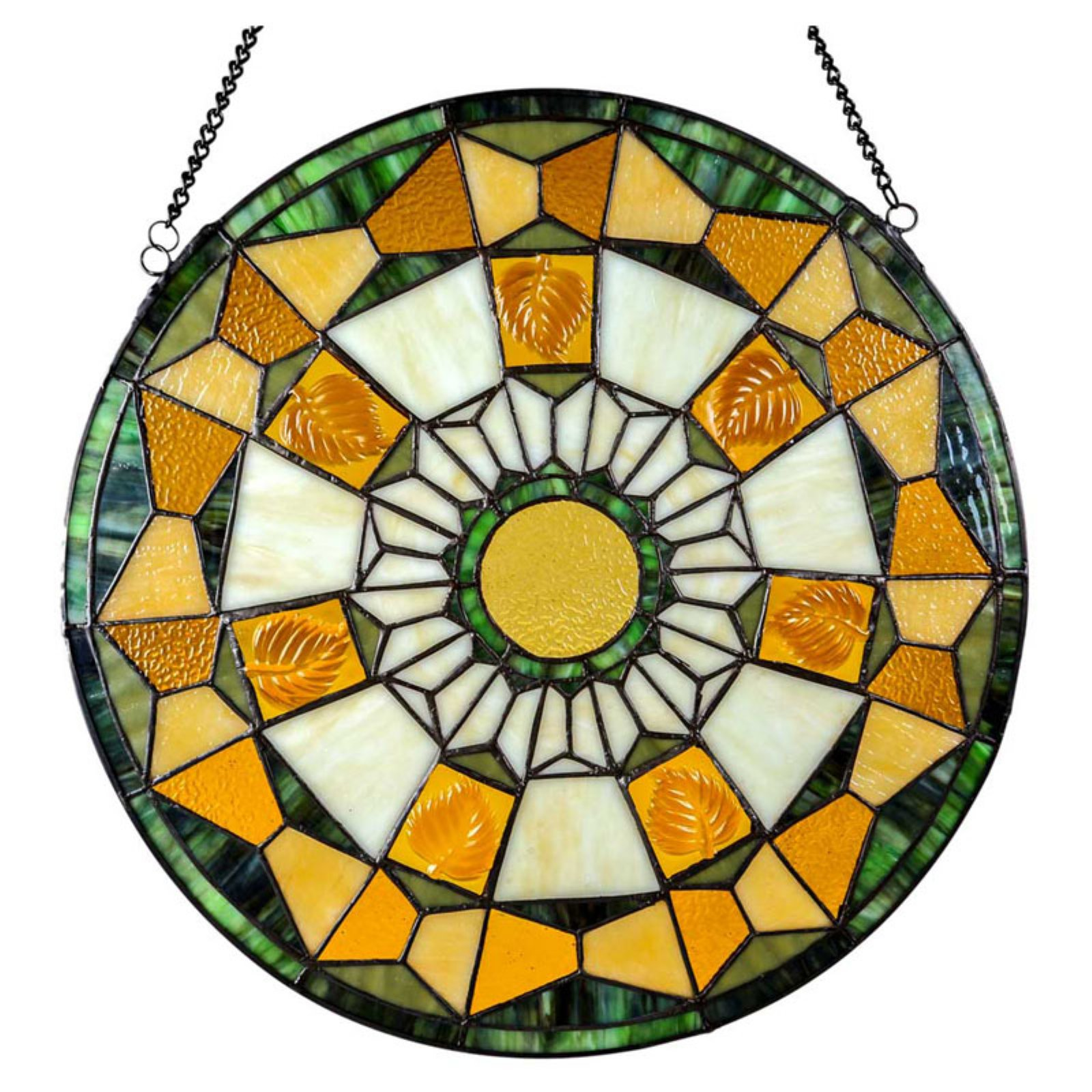 River of Goods Stained Glass Golden Leaves Window Panel