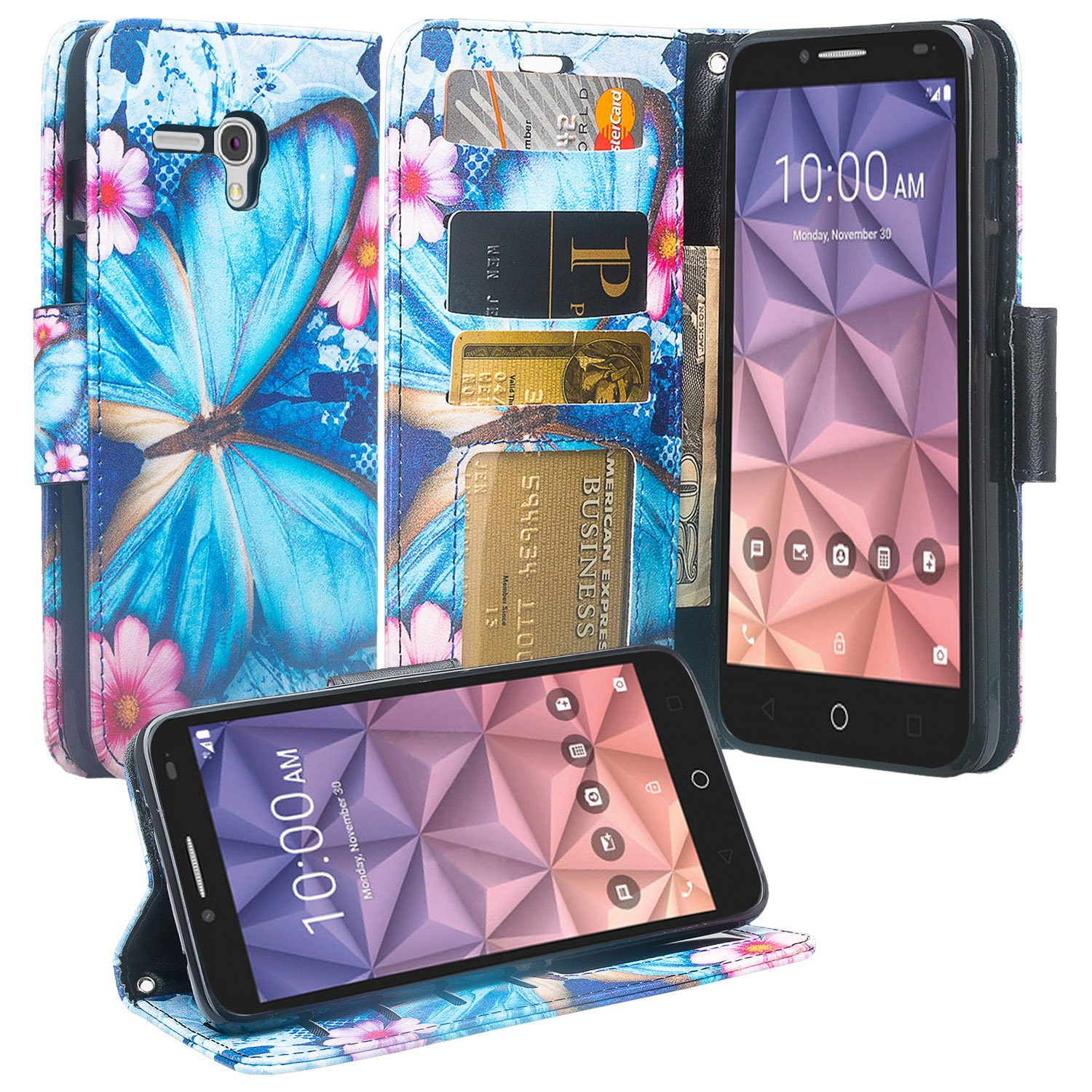 Jitterbug Smart Case, Pixi Glory, Fierce XL, PU Leather Wallet Protective Case Cover with Card Slots and Stand - Blue Butterfly