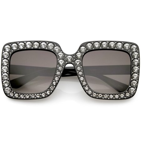 Designer Oversize Square Sunglasses Crystal Rhinestone Gradient Lens 52mm (Black / (Gradient Clip On Sunshade Amber)