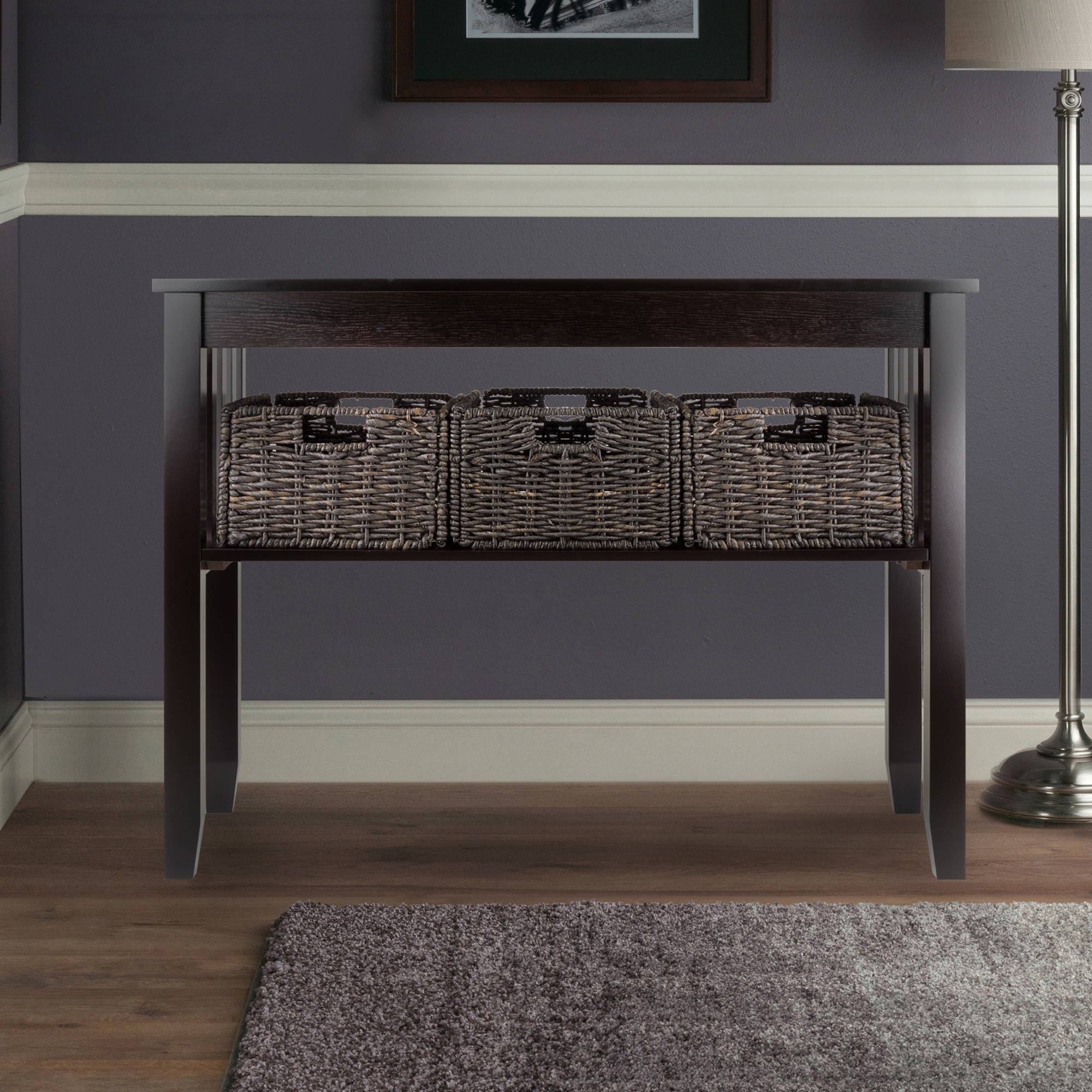 Winsome Wood Morris Console Table with 3 Storage Baskets, Espresso Finish