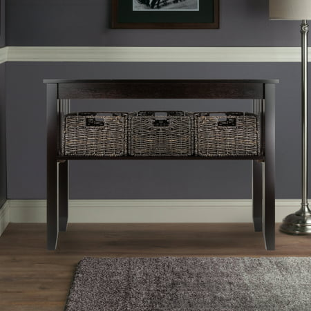 Winsome Wood Morris Console Table With 3 Storage Baskets Espresso