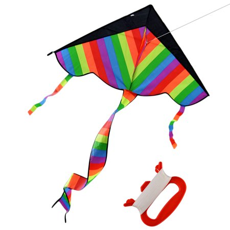 Flying Kite with Long Tail Outdoor Sky Dancer Toy Kite 600D Polyester Fiberglass Triangle (Kite Tails)