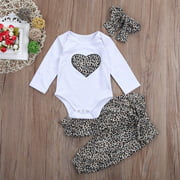 Newborn Baby Kids Girls Clothes Leopard Romper Tops Pants Outfits Set