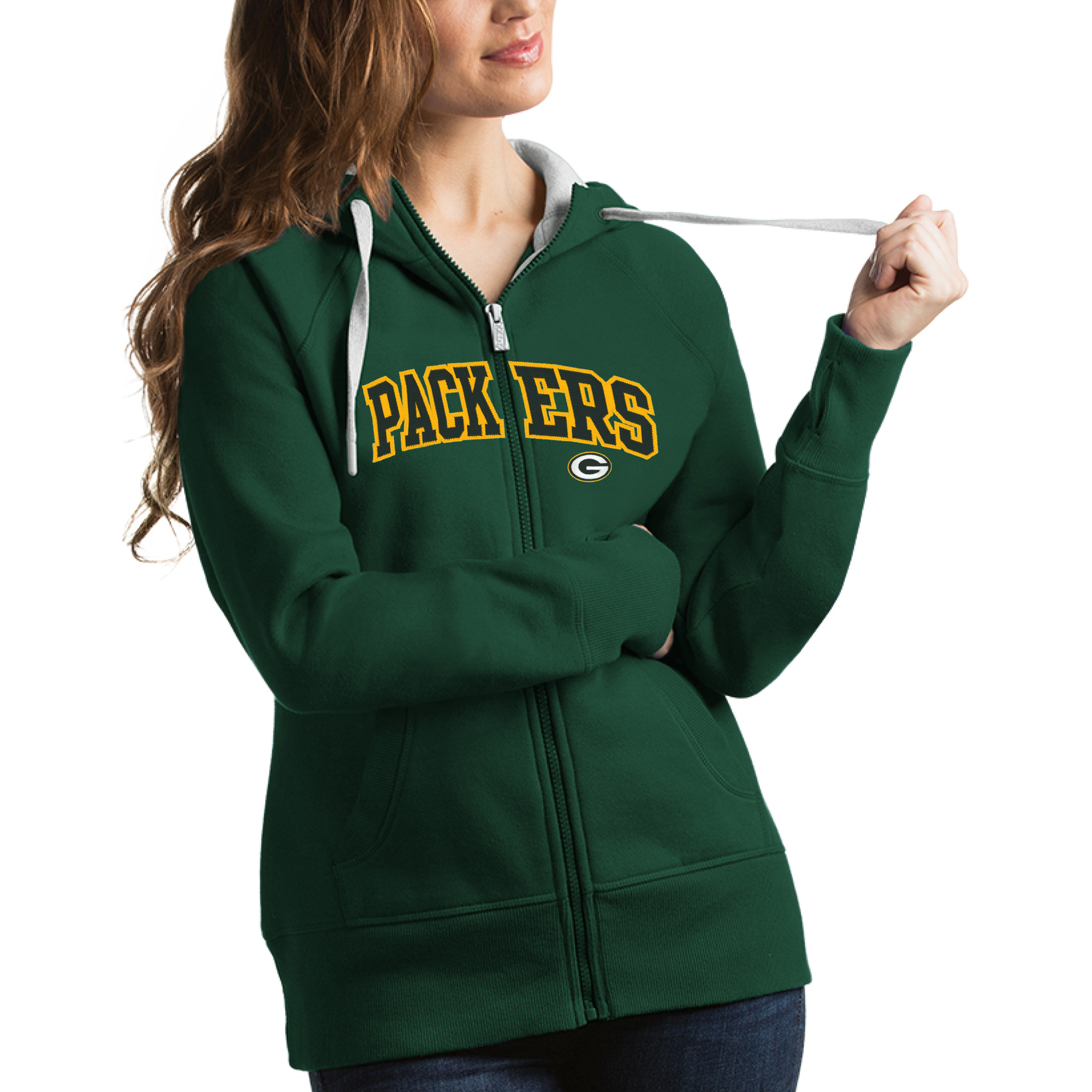 size 40 62d3b 5a5a2 Green Bay Packers Antigua Women's Victory Full-Zip Hoodie - Green