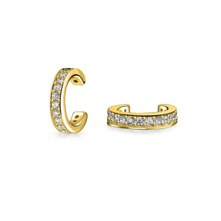 Minimalist Cubic Zirconia Pave CZ Band Cartilage Ear Cuff Clip Wrap Helix Earrings Rose 14K Gold Plated Sterling (Band Cuff Earrings)