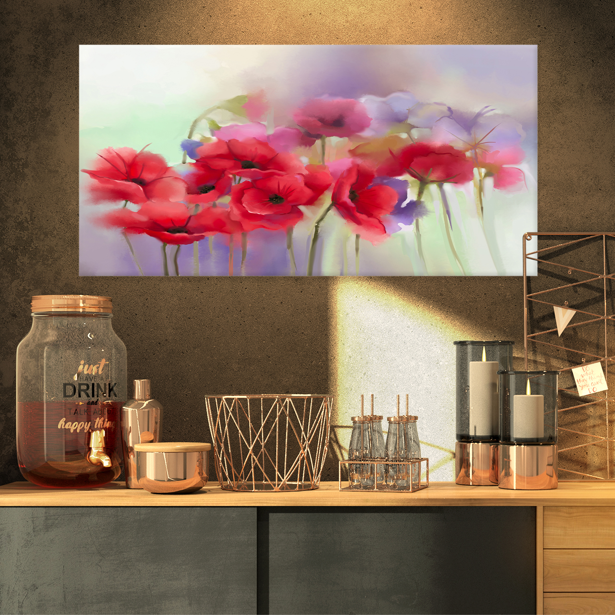 365692ec05c Watercolor Red Poppy Flowers Painting - Large Floral Canvas Artwork