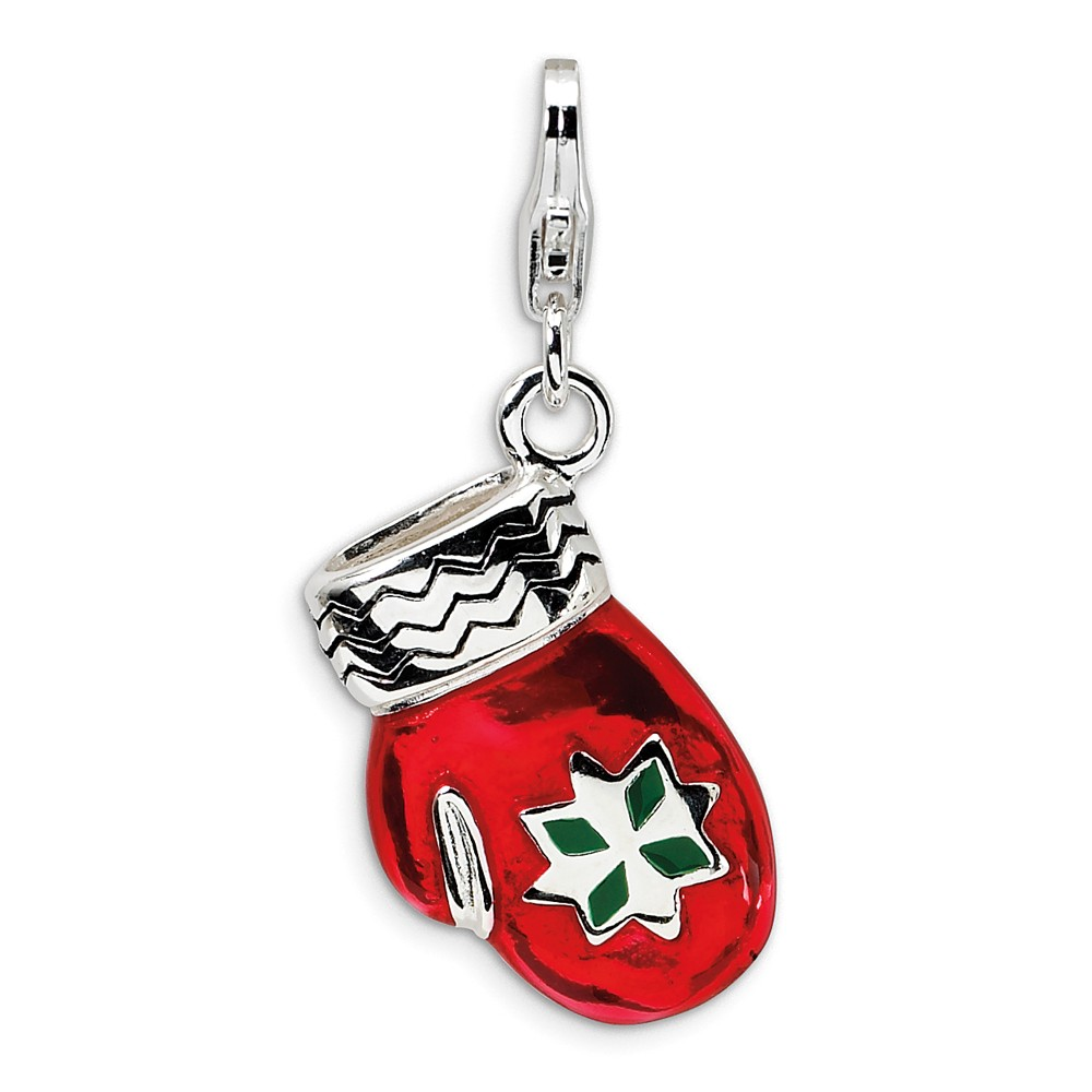 Sterling Silver 3-D Enameled Red Mitten with Lobster Clasp Charm (0.7in long x 0.5in wide)