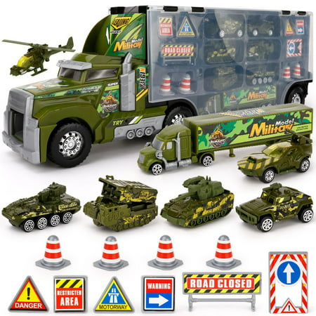 Kids Toy Truck Transport Truck Military Toy Truck with Lights and Sound Emergency Quick Release Effect
