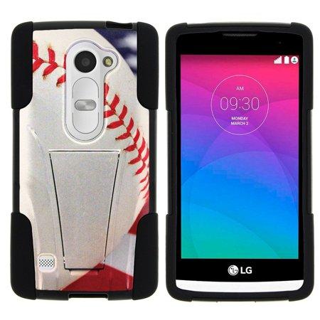 LG Leon C40, LG Tribute 2 LS665, LG Risio, LG Destiny L21G, LG Power L22C, LG Sunset L33L STRIKE IMPACT Dual Layer Shock Absorbing Case with Built-In Kickstand - Baseball Seams