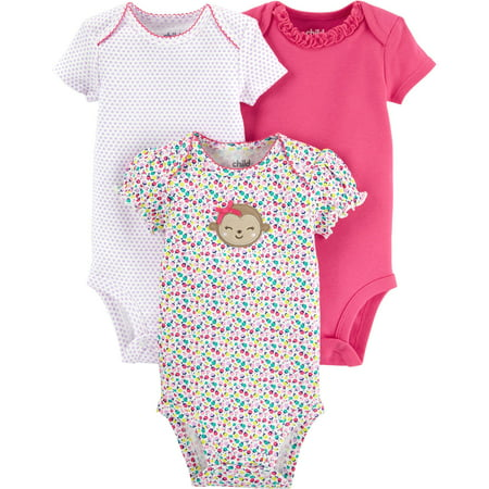 8bf9339db Child of Mine by Carter's - Child Of Mine By Carter's Newborn Baby Girl  Bodysuits, 3-Pack - Walmart.com