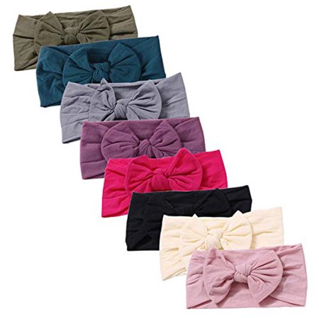 8pcs Nylon Newborn Headbands Baby Girl Bow Headband Infant Bows Head Cap Hair