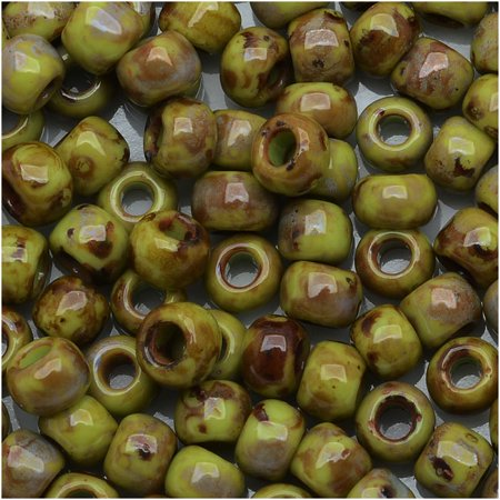 Toho Round Seed Beads 6/0 #Y310 - Hybrid Sour Apple Picasso (8 Grams) - Apple Beads