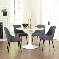 Moderne White Marquina Marble 5 Piece Dining Set with Charcoal Chairs by Chateau Lyon