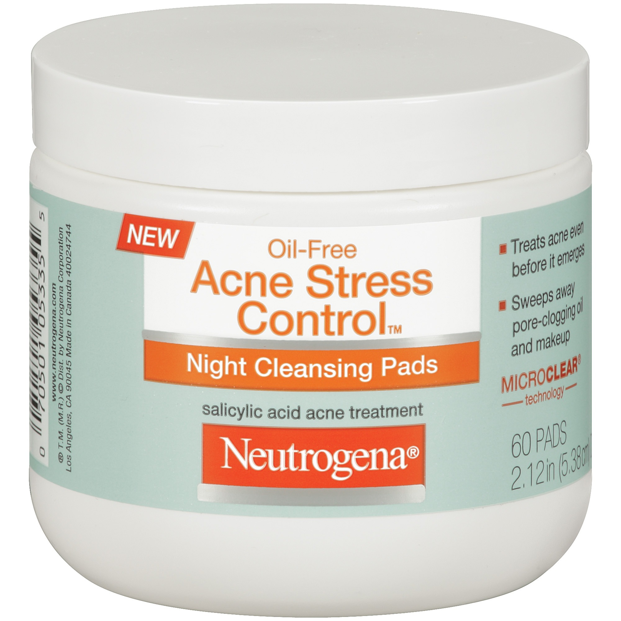 Neutrogena Oil-Free Acne Stress Control Night Cleansing Pads, 60 Count