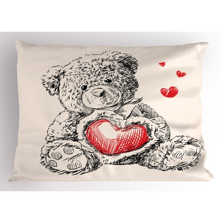 Doodle Pillow Sham Detailed Teddy Bear Drawing with Heart Instead of a Belly Mini Floating Hearts, Decorative Standard Size Printed Pillowcase, 26 X 20 Inches, Red Black White, by Ambesonne (Teddy Bear With Heart)