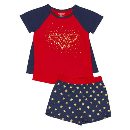 Girls' Wonder Women Girl's 2 Piece Pajama Sleep Set with Removable Cape (Little Girl & Big Girl)