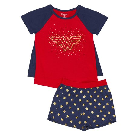 Girls' Wonder Women Girl's 2 Piece Pajama Sleep Set with Removable Cape (Little Girl & Big Girl)](Wonderwoman Suit)