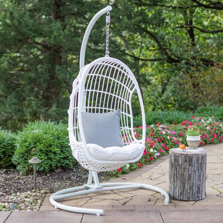 Belham Living Bali Resin Wicker Hanging Egg Chair with ...