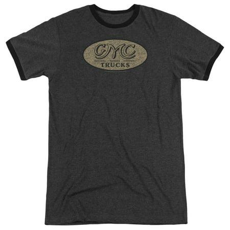 Gmc Vintage Oval Logo Mens Adult Heather Ringer Shirt