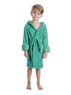 Elowel Boys Girls Hooded Green Childrens Toddler Fleece Sleep Robe Size 2Y