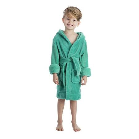 Girls Hooded Fleece Robe - Elowel Boys Girls Hooded Green Childrens Toddler Fleece Sleep Robe Size 2Y