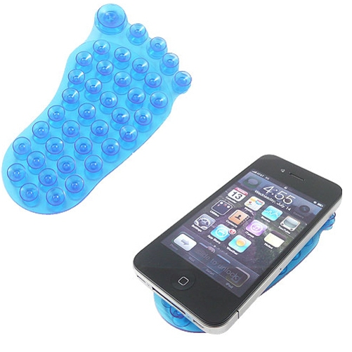 Blue Double Sided Suction Cup Holder for Window Windshield Glass Desktop Tile Metal Foot Shape Z4Q for Huawei Mate 10 - LG V30 - Samsung Galaxy Note8