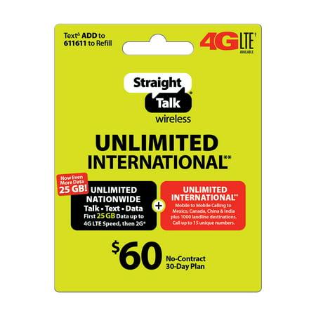 Straight Talk $60 Unlimited International** 30 Day Plan
