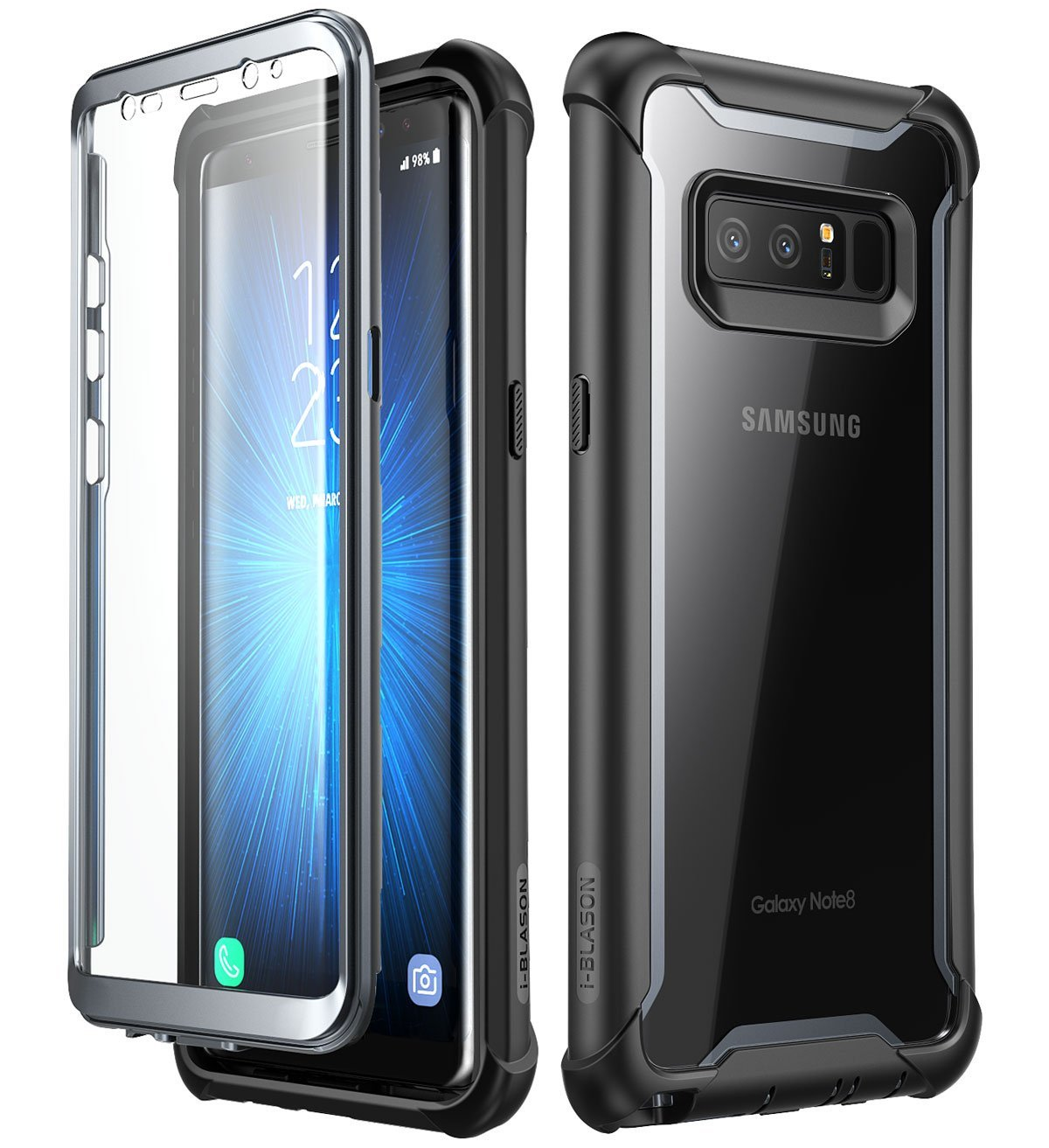 Samsung Galaxy Note 8 case,i-Blason [Ares Series] Full-body Rugged Clear Bumper Case with Built-in Screen Protector for Samsung Galaxy Note 8 2017 Release (Black)