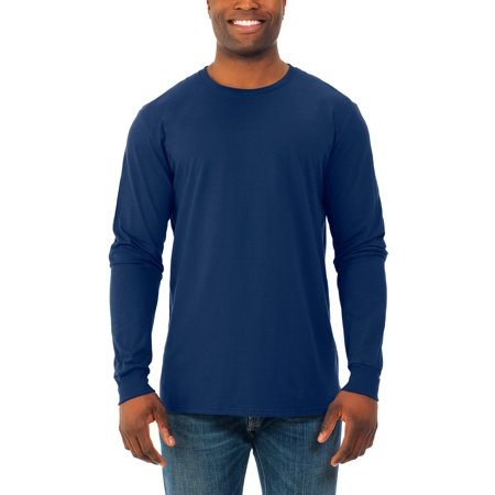Fruit of the Loom Big men's soft long sleeve lightweight crew t shirt, 2 pack
