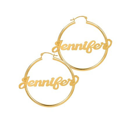 Personalized Sterling Silver, Gold Plated or 10k Script Name Polished Tube Hoop - Gold Name Earrings